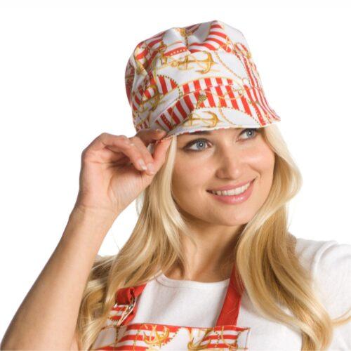 Cappello fantasia ancore rosso