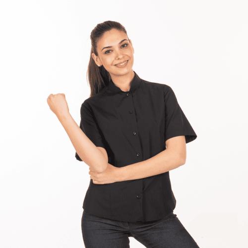 camicia-nera-cameriera-coreana-maniche-corte-vendita-online-fronte