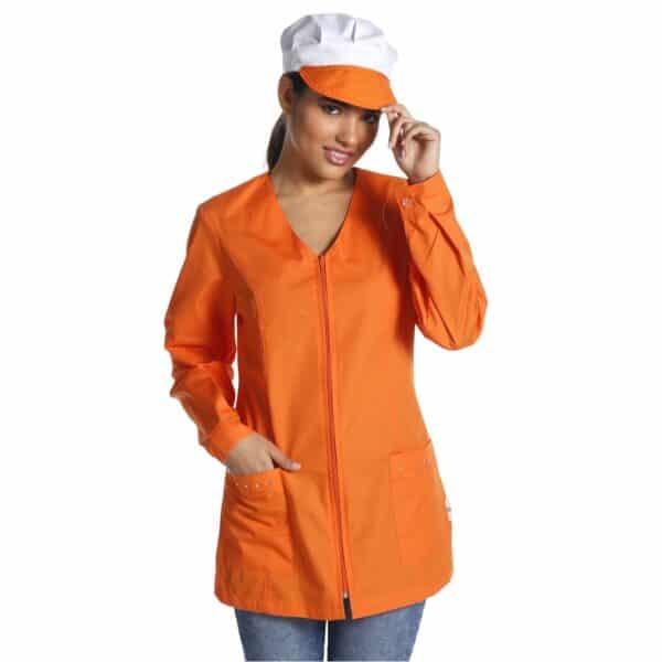 cinzia-arancione-manica-lunga-grembiule-alimentari