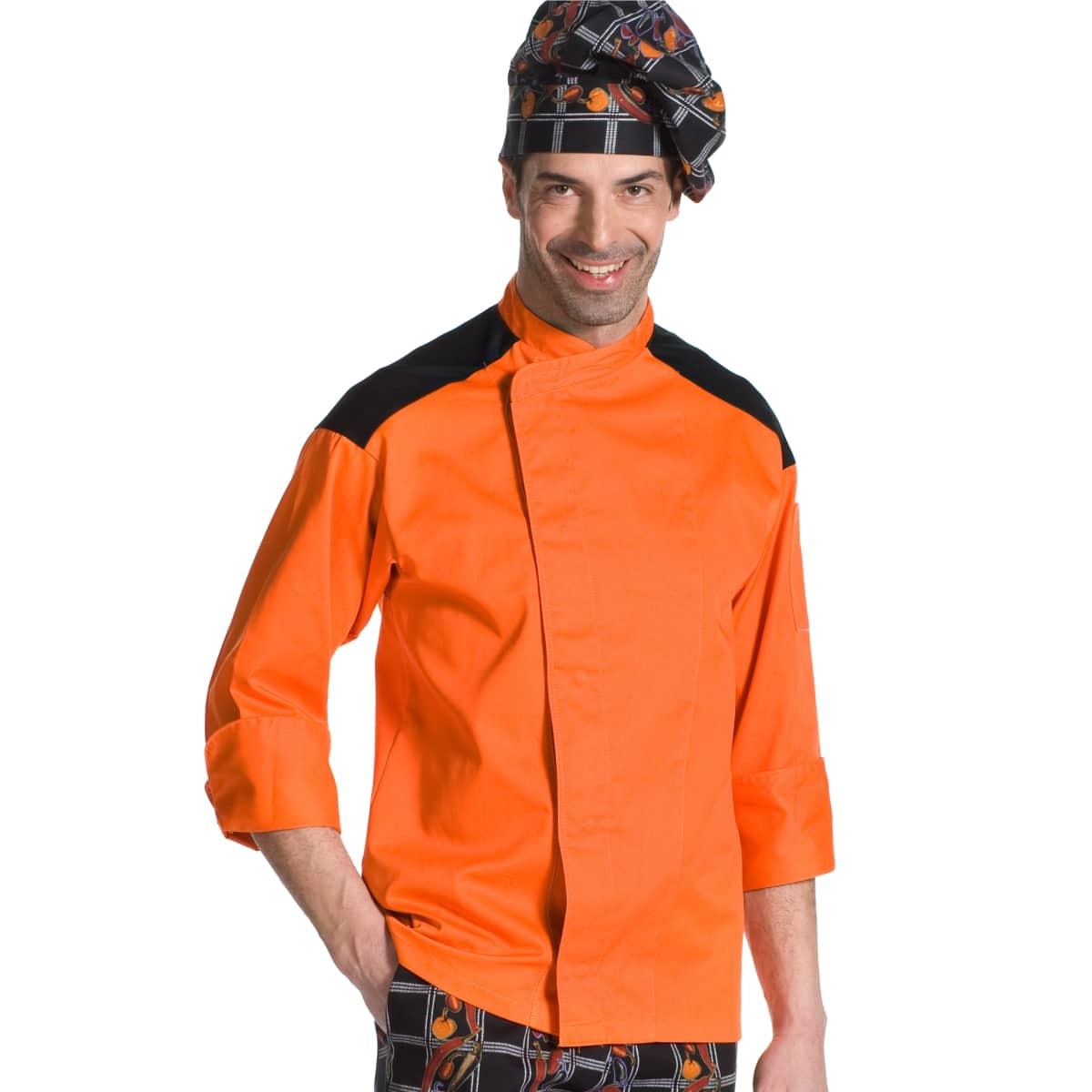 giacca cuoco nera e arancione