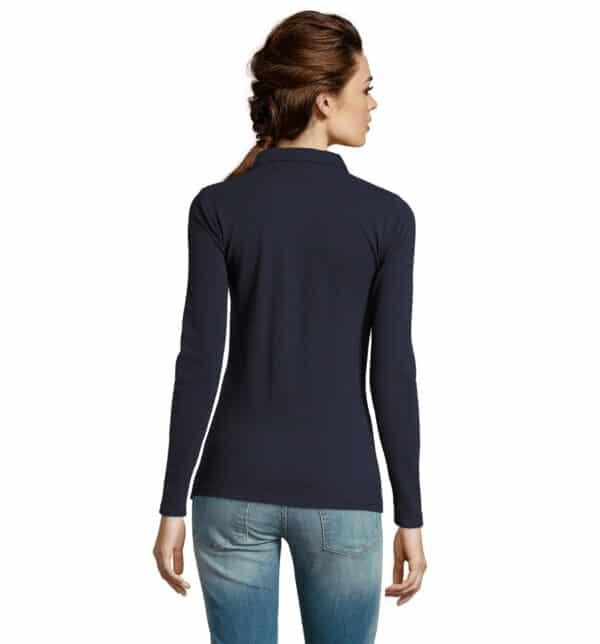 perfect-polo-donna-blu-navy-da-lavoro-manica-lunga-retro
