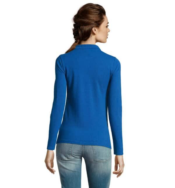 perfect-polo-donna-blu-royal-da-lavoro-manica-lunga-retro