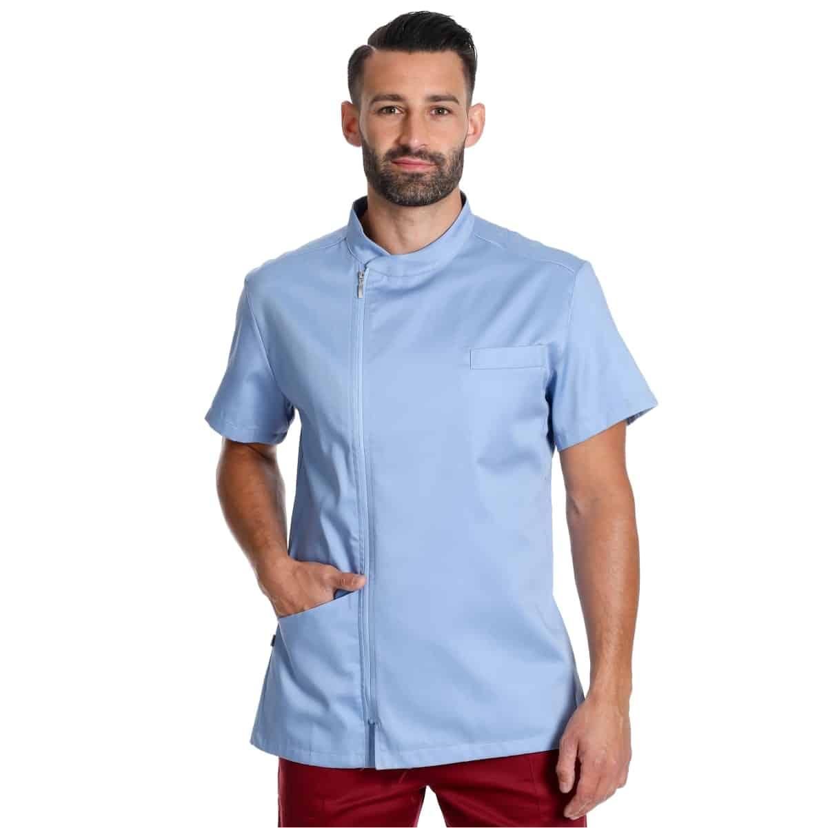 ruggero-azzurro-maniche-corte-abbigliamento-sanitario-casacca medico personalizzata