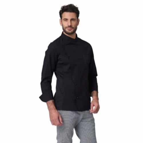 Giacca chef elasticizzata-richard-giacca-cuoco-nera-cotone-elasticizzato-siggi-westrose
