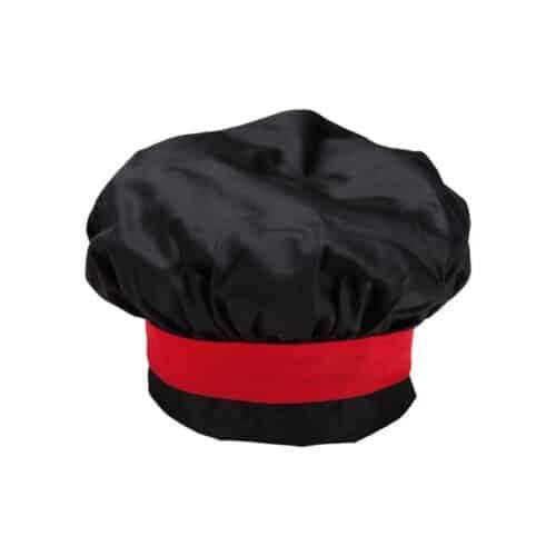 Cappello-cuoco-nero-rosso